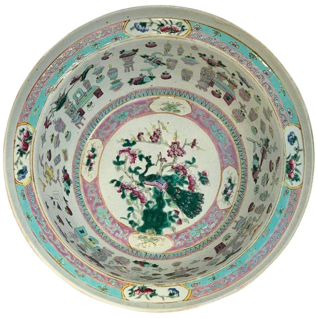 Large Qing Dynasty Famille Verte Peacock and Vase Motif Bowl For Sale