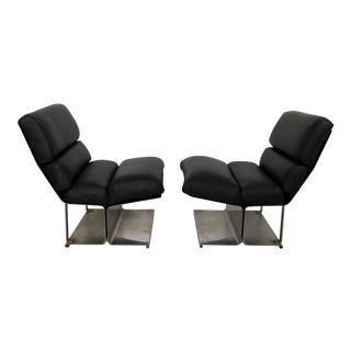 1970s Mid-Century Modern Paul Geoffroy Uginox Steel Leather Lounge Chairs - a Pair
