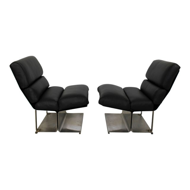 1970s Mid-Century Modern Paul Geoffroy Uginox Steel Leather Lounge Chairs - a Pair For Sale