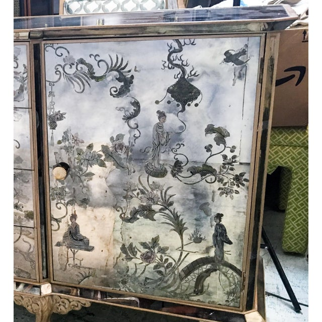 1950s Mirrored Chinoiserie Credenza - Image 9 of 10