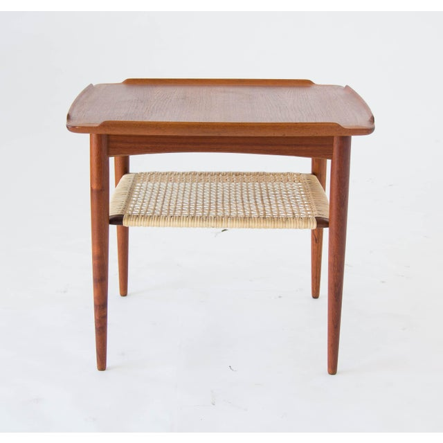 Poul Jensen for Selig Square Side Table With Cane Shelf For Sale - Image 7 of 8