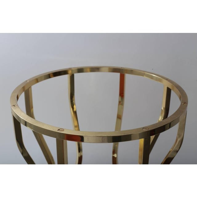 Metal Mid-Century Hour Glass Form Round Vanity Stool in Polished Brass and Velvet Upholstery For Sale - Image 7 of 9