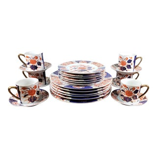 Vintage Gold Imari Dinnerware Service for Six For Sale