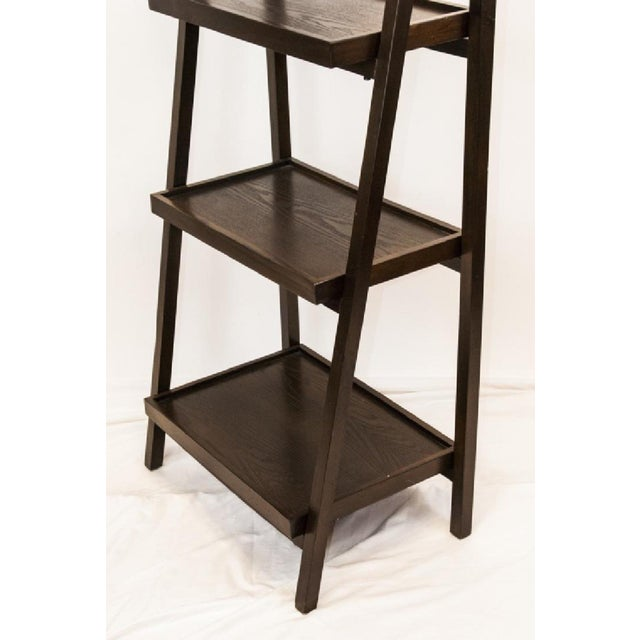 2010s Contemporary Dark Wood Five-Tier Leaning Bookcase For Sale - Image 5 of 6