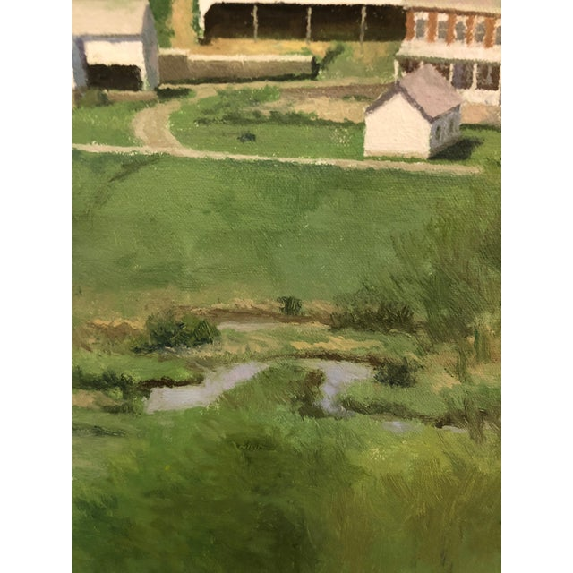 1970s Farm Green Landscape Painting by Peter Schor For Sale - Image 5 of 6