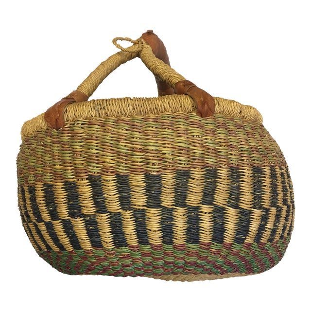Oval Hand Woven Natural Grass Basket - Image 1 of 8