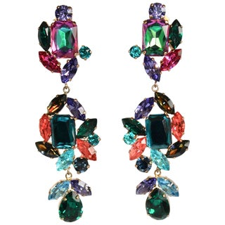 Philippe Ferrandis One of a Kind Multi-Color Drop Clip Earrings For Sale