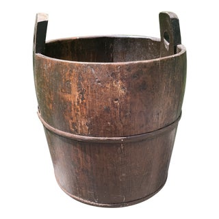 Vintage Wood Iron Banded Well Water Pail For Sale