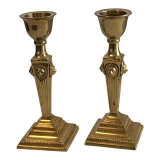 Heavy Brass Lion Head Candlesticks - a Pair For Sale