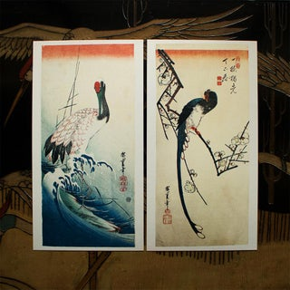 Utagawa Hiroshige, Red-Crowned Crane and Long-Tailed Bird 1980s Reproduction Prints - Pair Preview