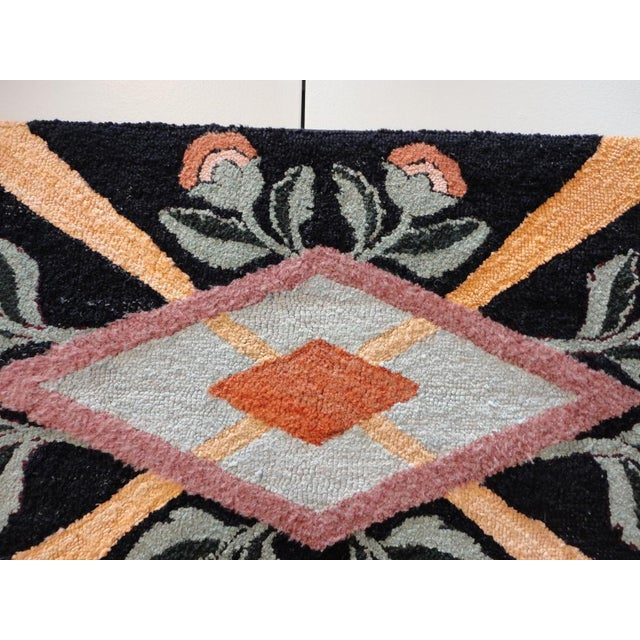 Primitive Fantastic Floral and Graphic Mounted Hand-Hooked Rug For Sale - Image 3 of 5