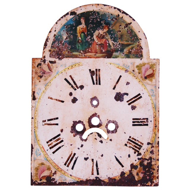 Antique Hand-Painted English Clock Face - Image 1 of 8