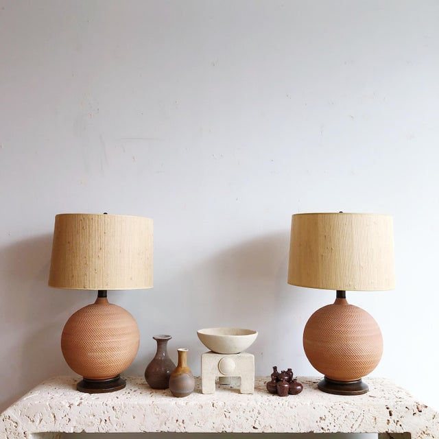 Ceramic Pair Vintage Mutual Sunset Incised Pottery Terra Cotta Spherical Lamps For Sale - Image 7 of 8
