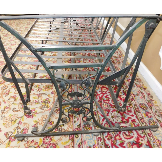 Green Vintage Lee Woodard & Sons Wrought Iron Glider Sofa For Sale - Image 8 of 11