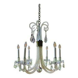 Vintage Charles Winston Cut Glass Crystal Chandelier 1940 For Sale