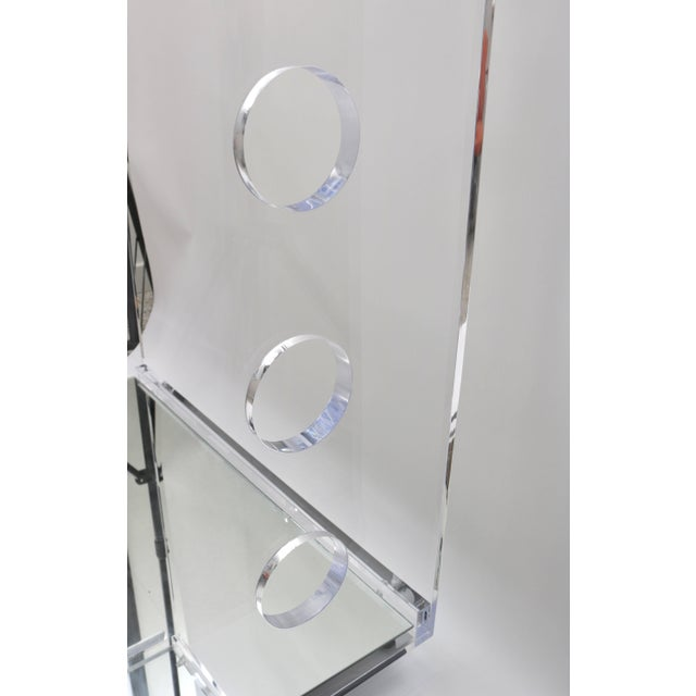 Glass Showroom Sample - Custom Designed Lucite and Mirror Bar Cart by Alexander Millen For Sale - Image 7 of 11