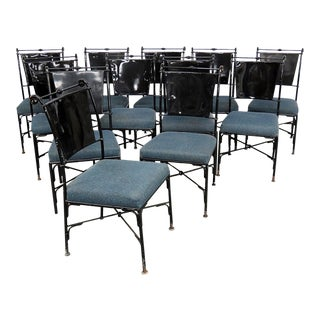Vintage Mid-Century Modern Metal Dining / Side Chairs - Set of 10 For Sale