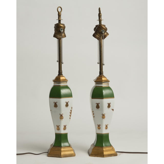 Empire Late 19th Century French Napoleonic Lamps Style of Sèvres - a Pair For Sale - Image 3 of 12