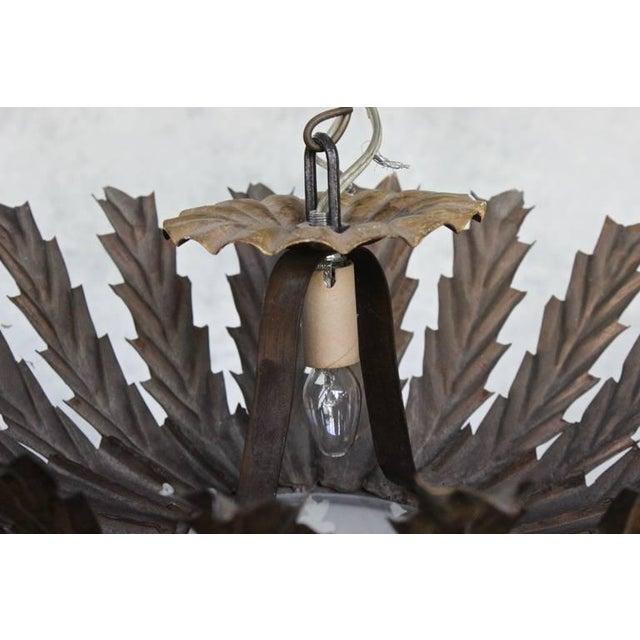 20th Century Spanish Gilt Metal Sunburst Ceiling Fixture For Sale - Image 9 of 10