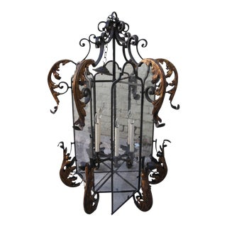 Hand Wrought Spanish Style Iron Lantern For Sale