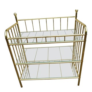 Milo Baughman Style Modern Brass & Glass Cocktail Etagere For Sale