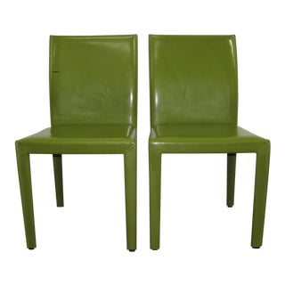 2010s Crate and Barrel Green Leather Side Chairs - a Pair