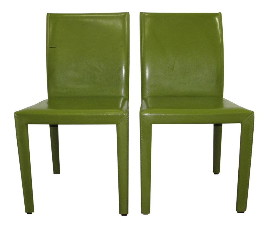 Amazing 2010s Crate And Barrel Green Leather Side Chairs   A Pair