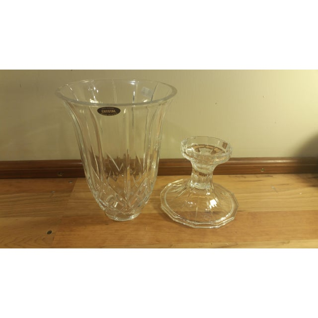 Crystal Deplomb Glass Hurricane Candle Holder For Sale - Image 4 of 6
