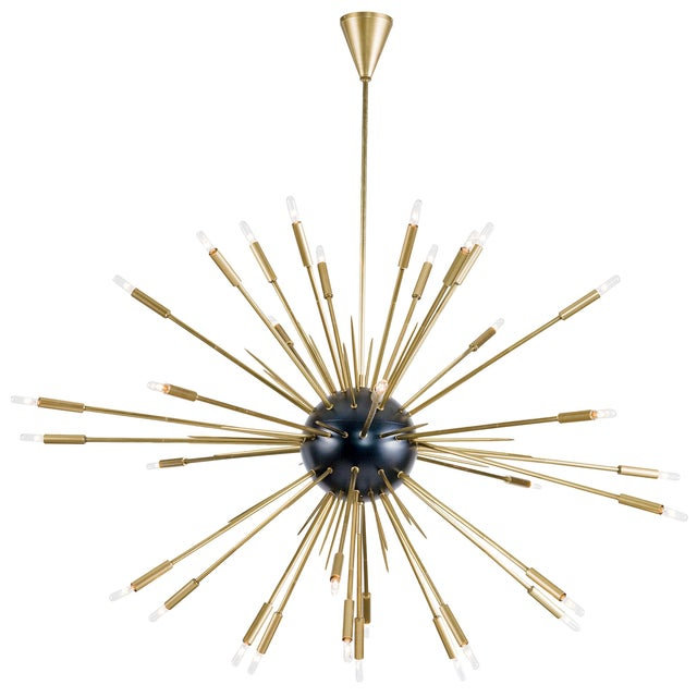 Metal Nebula Chandelier Large in Black and Natural Brass For Sale - Image 7 of 7