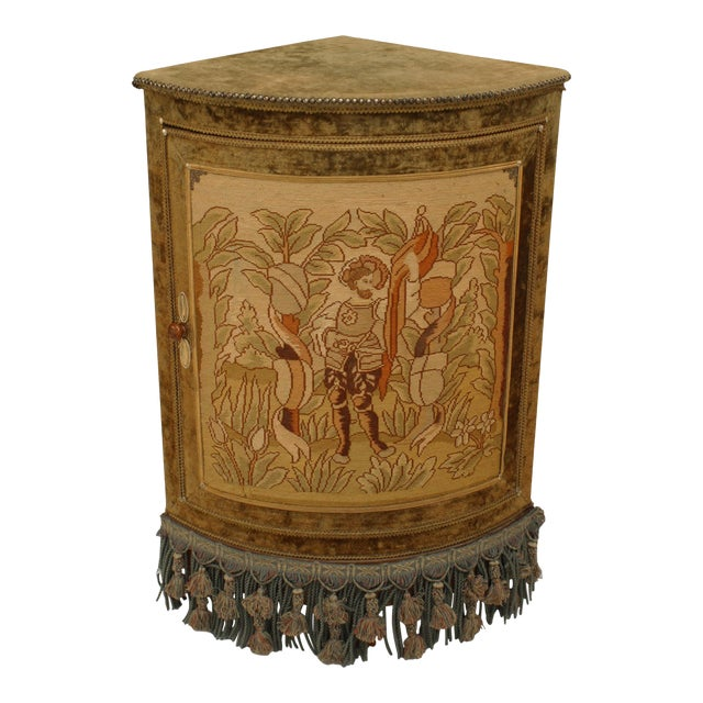 French Victorian Style Velvet Corner Commode Cabinet For Sale