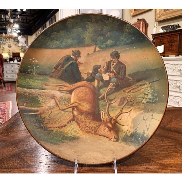 Early 20th Century Early 20th Century German Hand Painted Ceramic Hunt Scene Wall Platter For Sale - Image 5 of 13