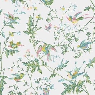 Cole & Son Hummingbirds Wallpaper Roll - Green/Pink For Sale