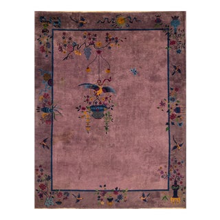Apadana - Antique Purple Chinese Art Deco Carpet, 9' X 12'