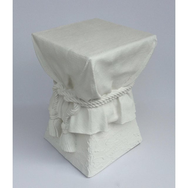 1960s John Dickinson Attributed Draped Plaster Side Table Pedestal For Sale - Image 5 of 11