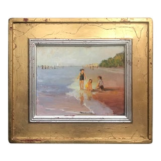 Tom Ross Children Playing in the Sand Impressionist Inspired Framed Painting For Sale