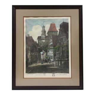 """Rothenburg"", Original Signed Etching by Otto Ferdinand Probst For Sale"