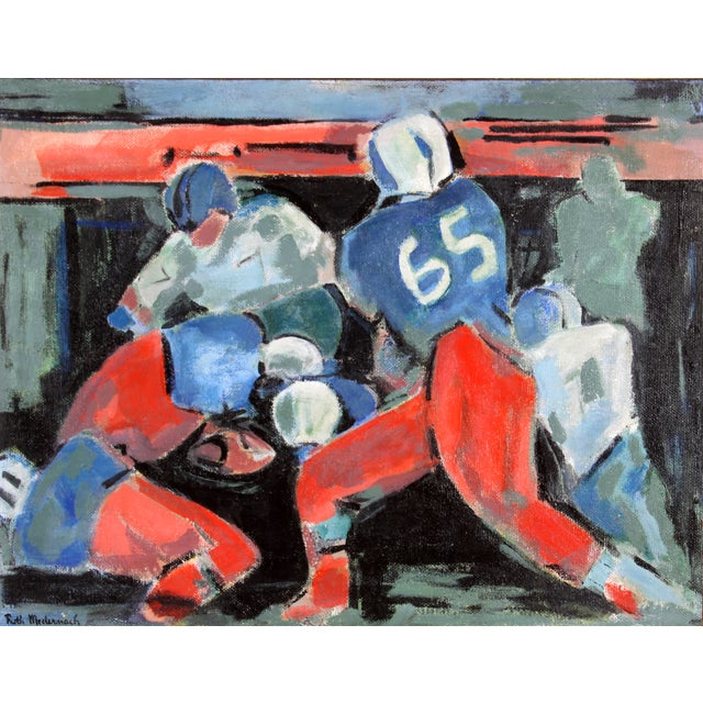 """The Tackle"" by Ruth Medernach Football Painting - Image 2 of 5"