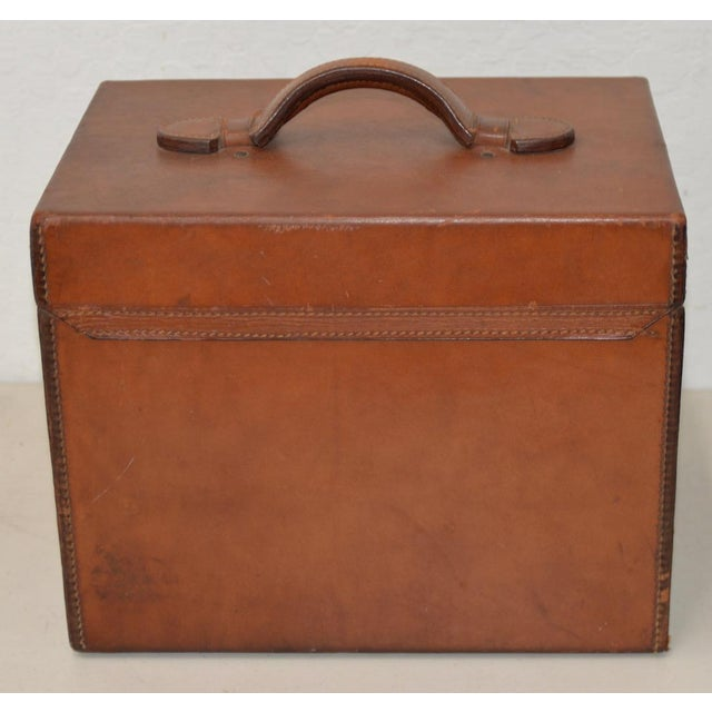 1800s Dunlap & Co. Top Hat & Leather Hat Box by Collins & Fairbanks Co. For Sale - Image 9 of 10