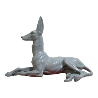Vintage Mid Century Terra Cotta Egyptian Dog For Sale