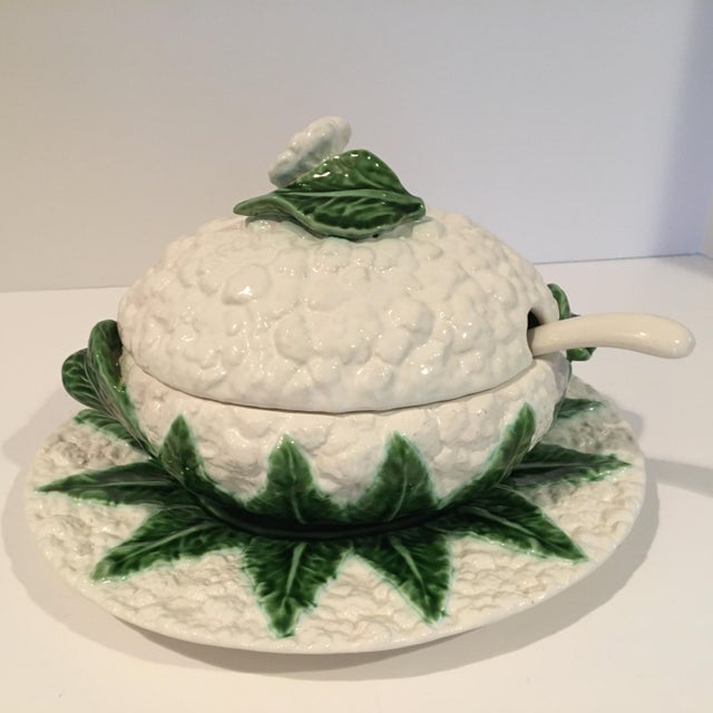 Vintage Majolica Cauliflower Tureen Made in Portugal - 4 Piece Set For Sale - Image 12 of 13