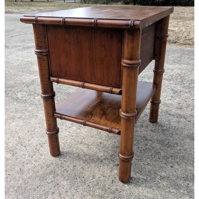 Drexel Vintage Drexel Faux Bamboo Wooden Nightstand For Sale - Image 4 of 12