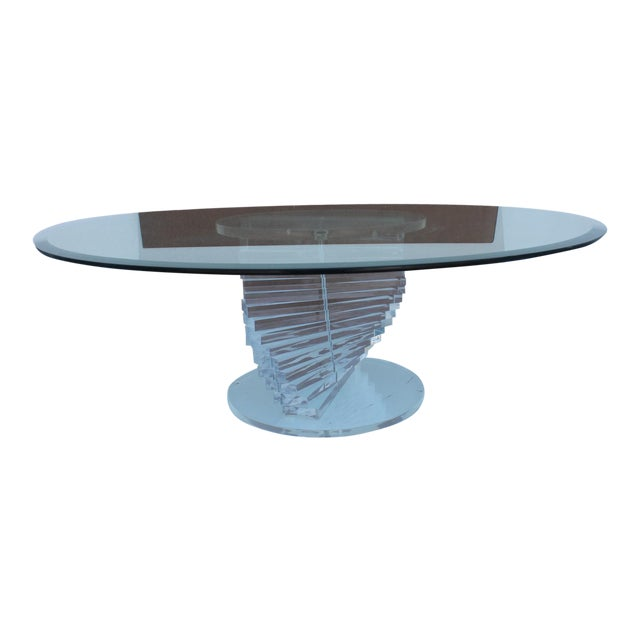 Vintage Lucite Spiral Round Coffee Table Chairish