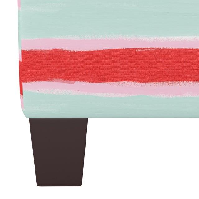 Contemporary Square Ottoman in Brush Stripe Mint Oga For Sale - Image 3 of 5