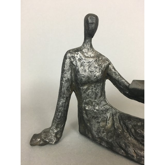 Art Nouveau Mid-Century Metal Sculpture of Reclining Female Business Card Holder For Sale - Image 3 of 12