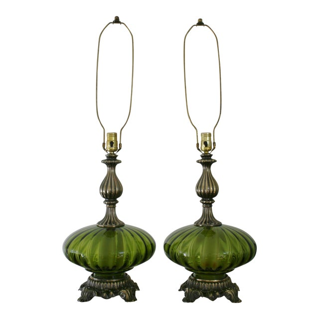 Vintage Green Glass Nightlight Table Lamps - a Pair For Sale