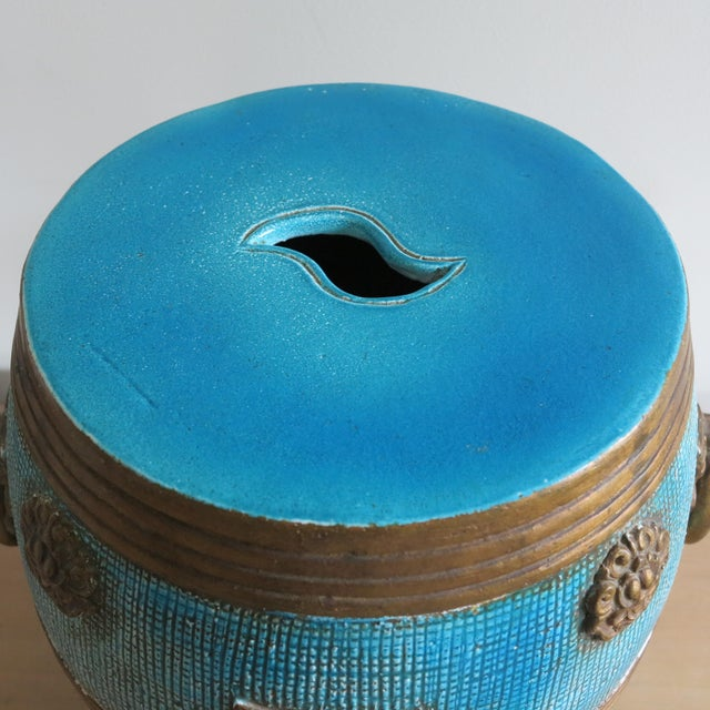 Asian 1950s Vintage Ugo Zaccagnini Ceramic Pottery Chinoiserie Garden Stool For Sale - Image 3 of 13