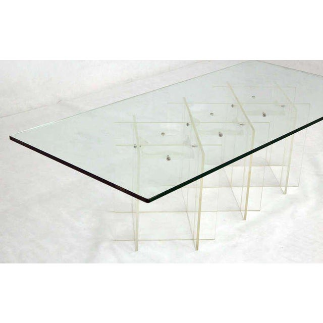 Mid-Century Modern Mid-Century Modern Lucite & Glass Coffee Table For Sale - Image 3 of 10
