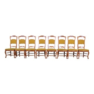 Baker Furniture French Country High Back Dining Chairs, Set of Eight For Sale