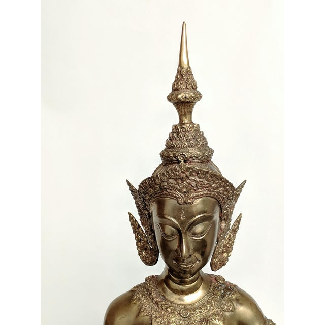 Thai Goddess Brass Sculpture For Sale - Image 10 of 13