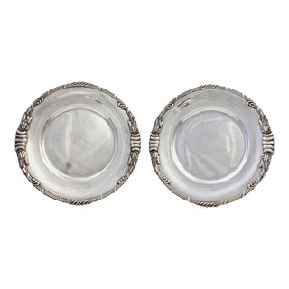 Dutch Art Nouveau Sterling Silver Platters with Cattails by Ph Saakes - A Pair For Sale